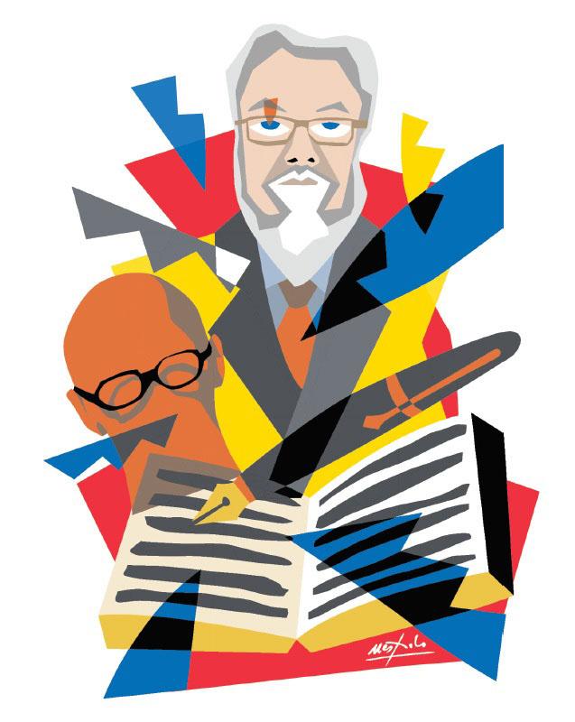 """Copertina del libro """"Il Centro Pannunzio e un maestro di libera cultura. Testimonianze su Pier Franco Quaglieni"""" disegnata da Ugo Nespolo"""